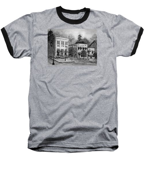 Baseball T-Shirt featuring the painting Blue Ridge Town In Bw by Gretchen Allen