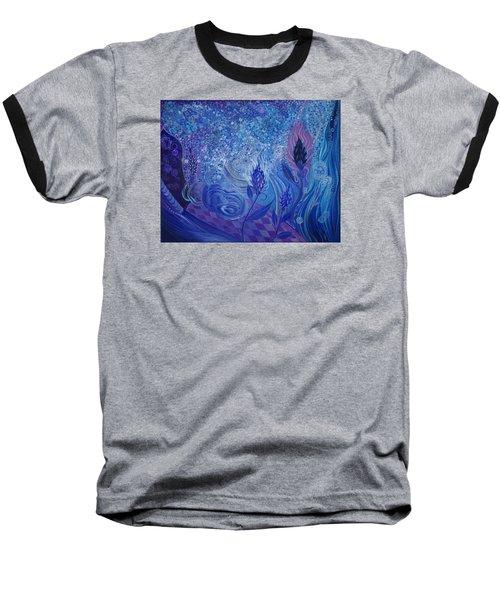 Blue Rosebud Ballroom Baseball T-Shirt by Adria Trail