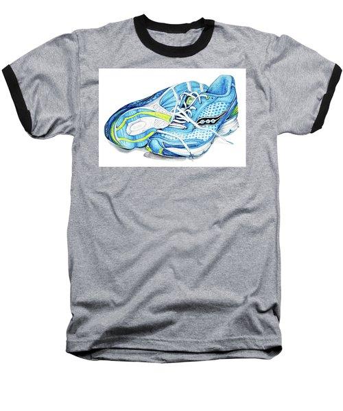 Blue Running Shoes Baseball T-Shirt by Heidi Kriel