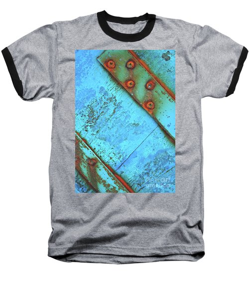 Blue Rusty Boat Detail Baseball T-Shirt by Lyn Randle