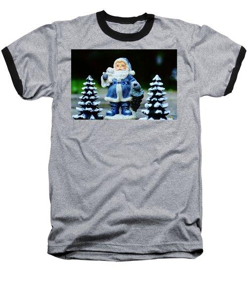Blue Santa Christmas Card Baseball T-Shirt by Bellesouth Studio