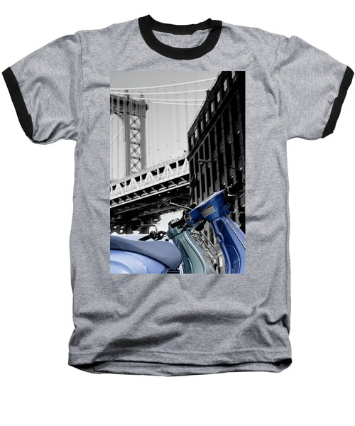 Blue Scooter Baseball T-Shirt by Silvia Bruno