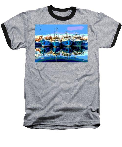 Blue Shrimp Boats Baseball T-Shirt