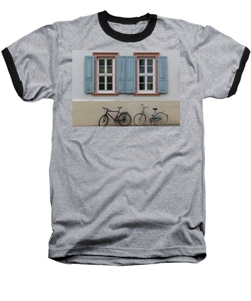 Blue Shutters And Bicycles Baseball T-Shirt