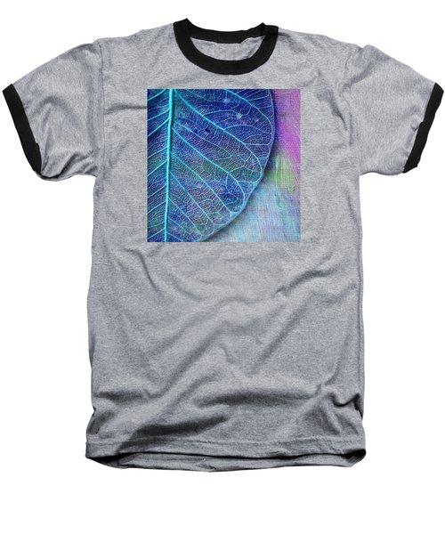 Blue Skeletal Leaf Baseball T-Shirt