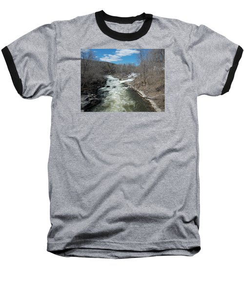 Blue Skies Over The Housatonic River Baseball T-Shirt by Catherine Gagne