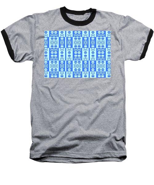 Blue Skull And Crossbones Pattern Baseball T-Shirt