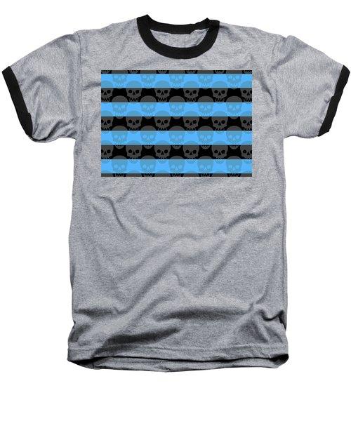 Blue Skull Stripes Baseball T-Shirt