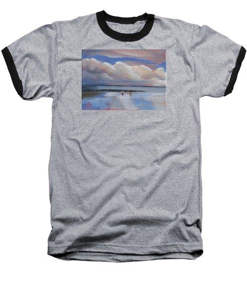 Blue Sky And Clouds I Baseball T-Shirt by Trina Teele