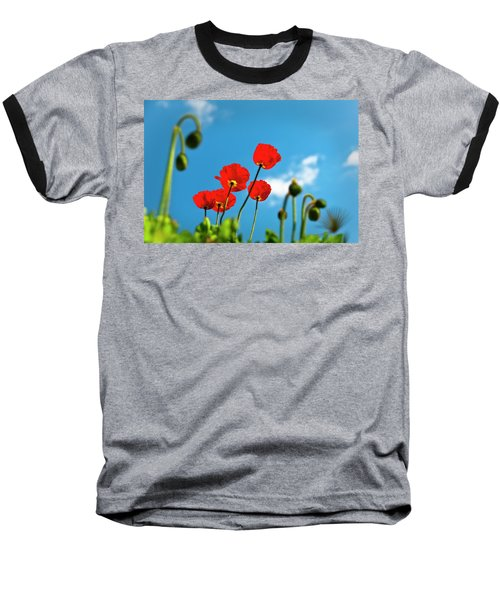 Baseball T-Shirt featuring the photograph Blue Sky And Poppies by Tamyra Ayles