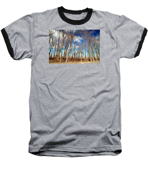 Baseball T-Shirt featuring the photograph Blue Sky And Trees by Valentino Visentini