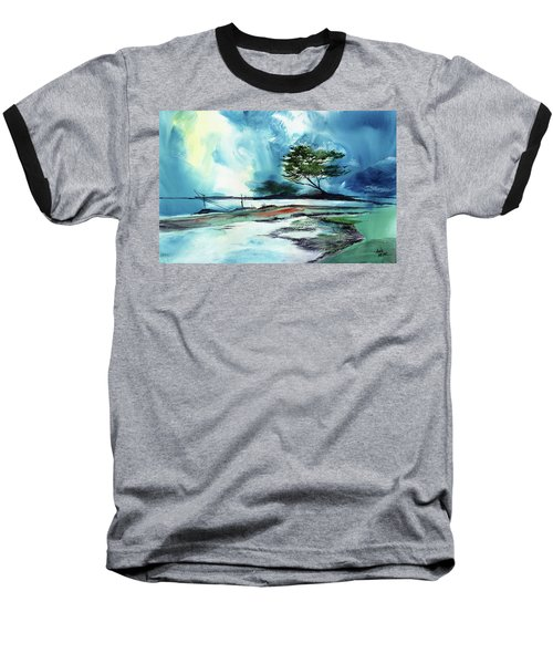 Baseball T-Shirt featuring the painting Blue Sky by Anil Nene