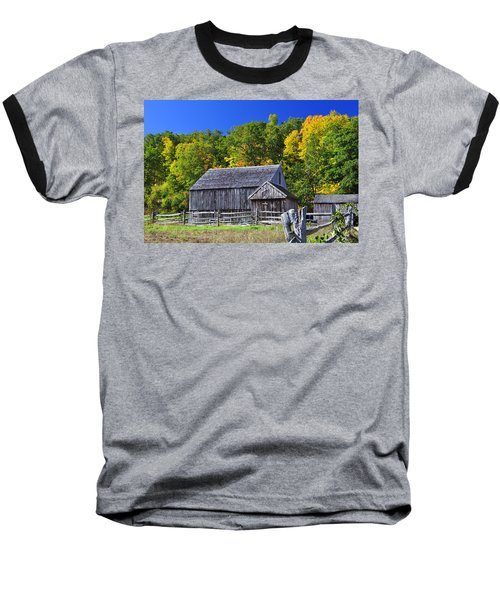 Blue Sky Autumn Barn Baseball T-Shirt