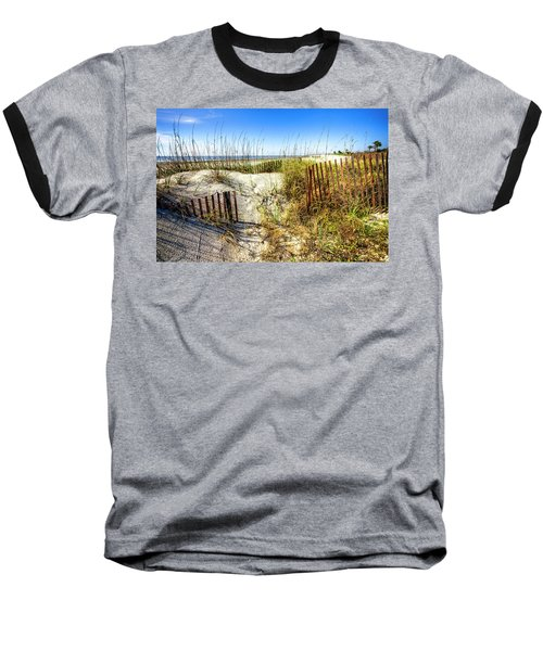 Baseball T-Shirt featuring the photograph Blue Sky Dunes by Debra and Dave Vanderlaan