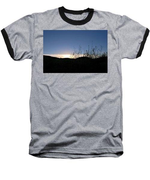 Blue Sky Silhouette Landscape Baseball T-Shirt