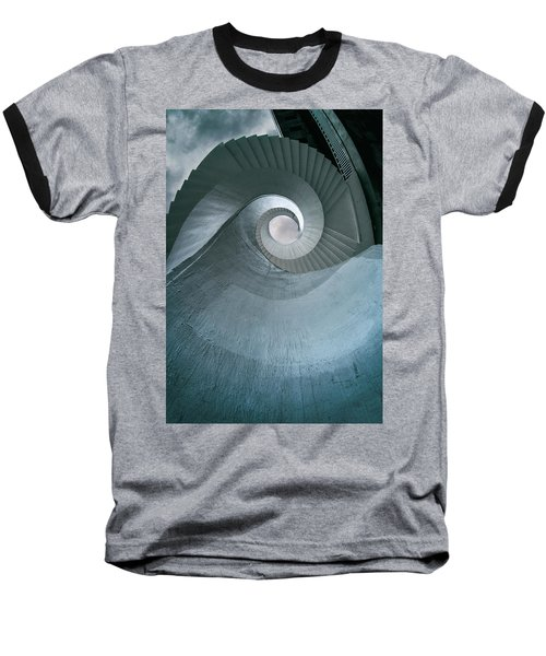 Baseball T-Shirt featuring the photograph Blue Spiral Stairs by Jaroslaw Blaminsky