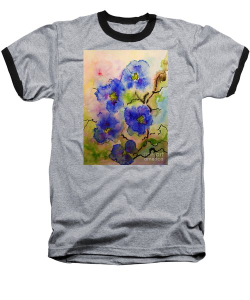 Blue Spring Flowers Watercolor Baseball T-Shirt
