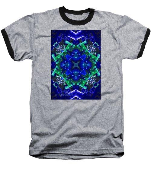 Blue Star Mandala Baseball T-Shirt