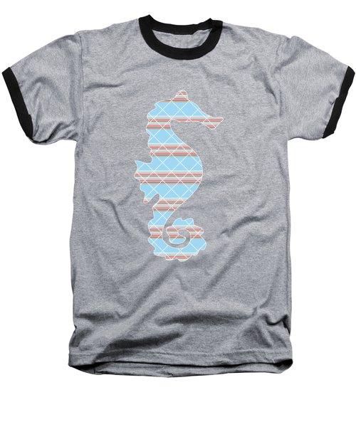 Blue Seahorse Art Baseball T-Shirt