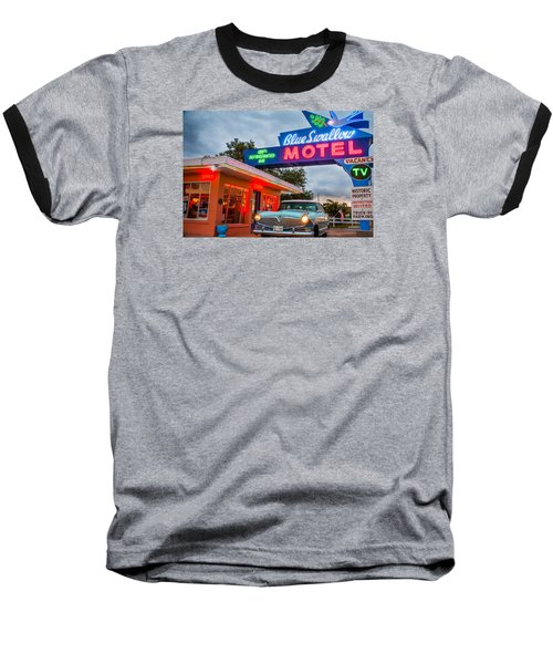 Blue Swallow Motel On Route 66 Baseball T-Shirt by Steven Bateson