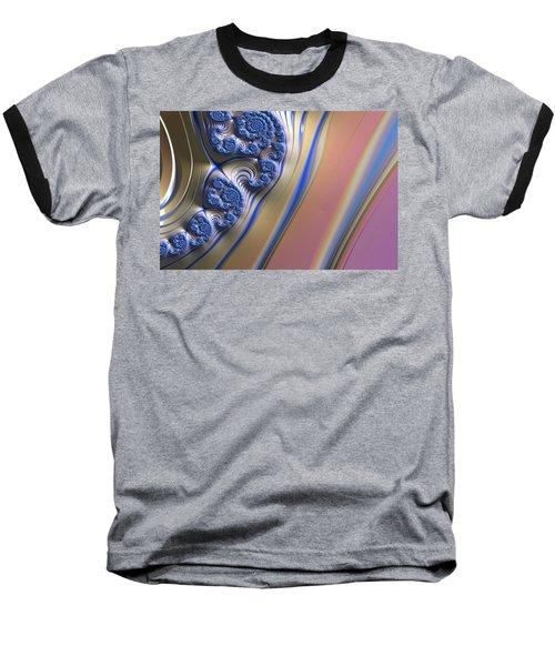 Baseball T-Shirt featuring the digital art Blue Swirly Fractal 2 by Bonnie Bruno