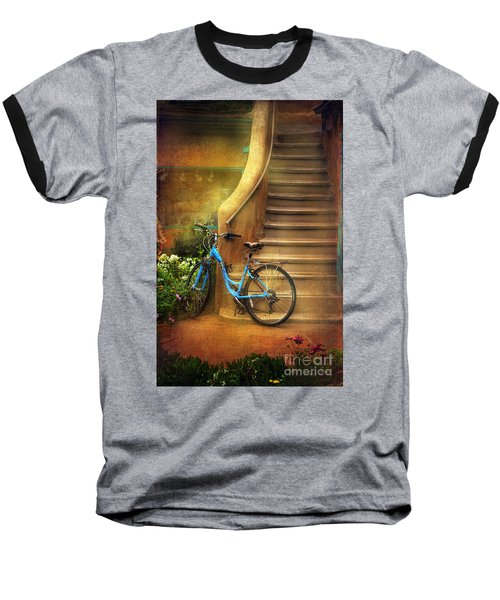 Baseball T-Shirt featuring the photograph Blue Taos Bicycle by Craig J Satterlee