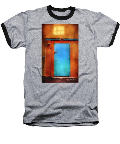 Blue Taos Door Baseball T-Shirt by Craig J Satterlee