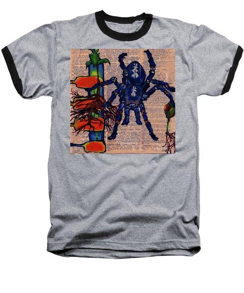 Blue Tarantula Baseball T-Shirt by Emily McLaughlin