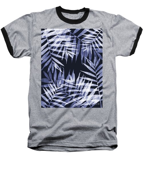 Blue Tropical Leaves Baseball T-Shirt