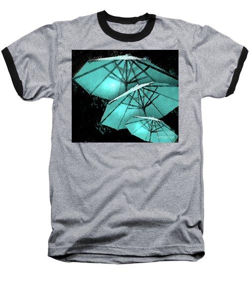 Blue Umbrella Splash Baseball T-Shirt by Deborah Nakano