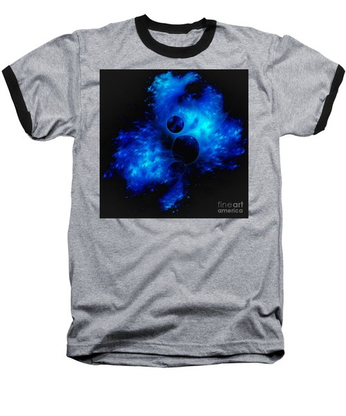 Blue Universe Fractal Baseball T-Shirt