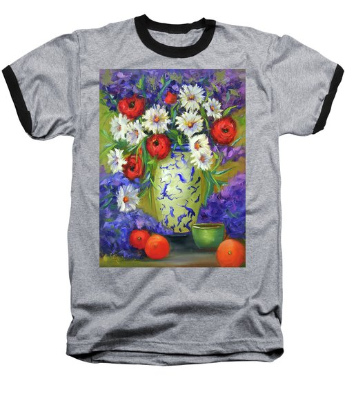 Blue Vase Flowers Baseball T-Shirt
