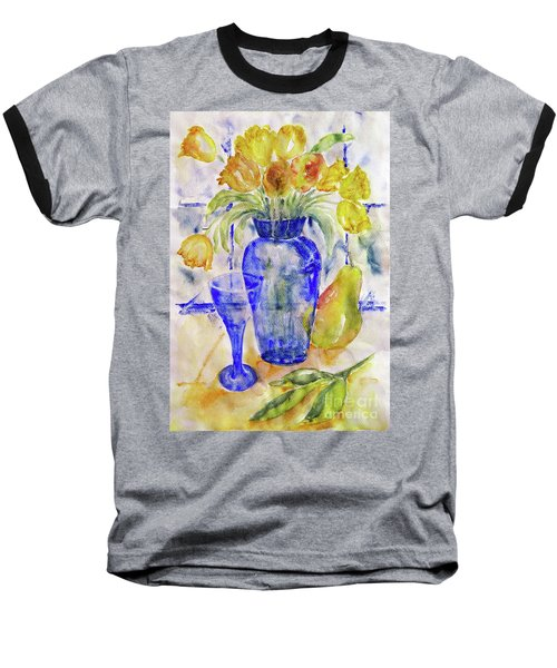 Baseball T-Shirt featuring the painting Blue Vase by Jasna Dragun