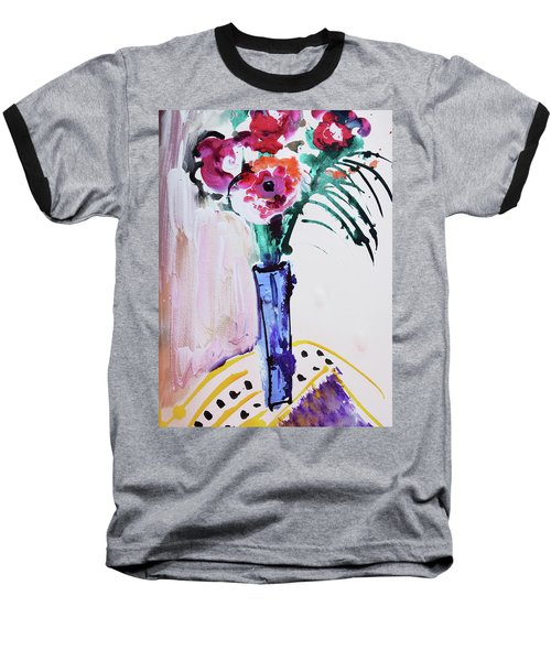 Blue Vase With Red Wild Flowers Baseball T-Shirt by Amara Dacer