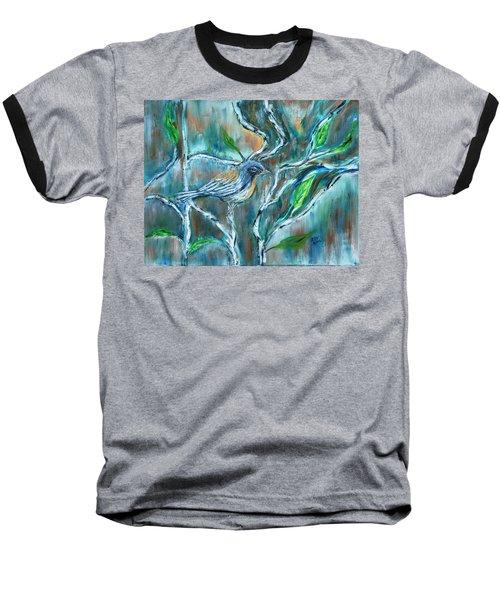 Blue Warbler In Birch Baseball T-Shirt