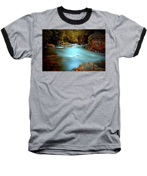 Blue Water And Rusty Rocks Signed Baseball T-Shirt