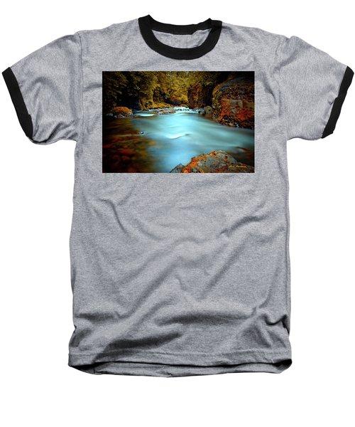 Blue Water And Rusty Rocks Signed Baseball T-Shirt