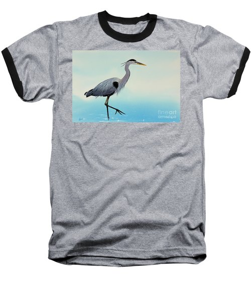 Baseball T-Shirt featuring the painting Blue Water Heron by James Williamson