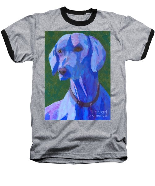 Blue Weimaraner Baseball T-Shirt by Donald J Ryker III