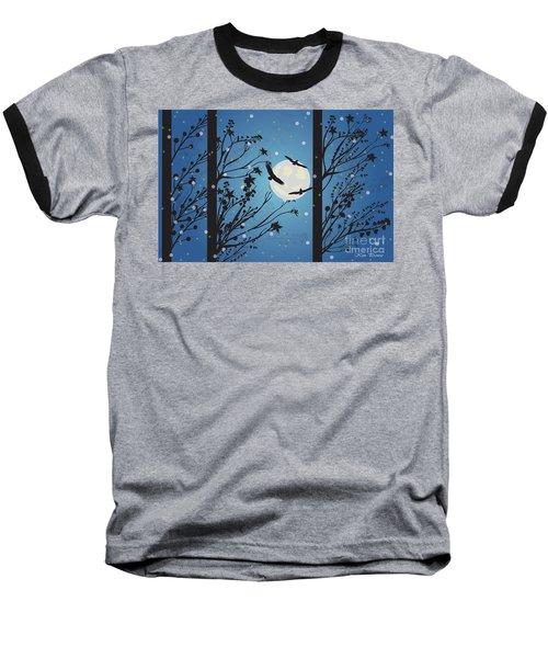 Blue Winter Moon Baseball T-Shirt
