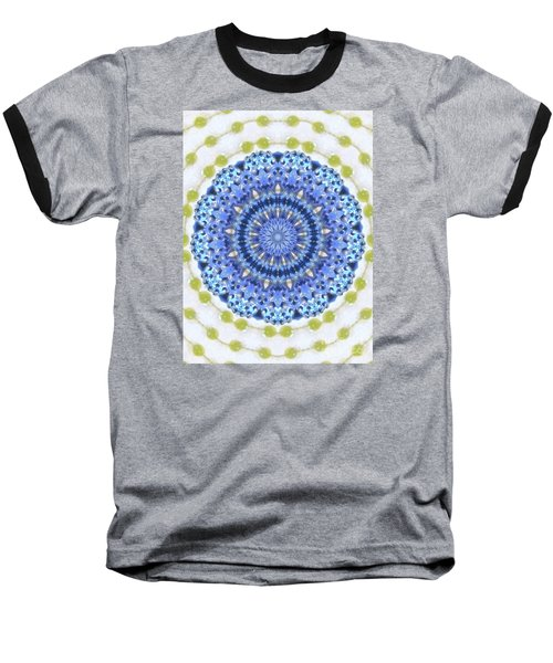 Blue With Green Dots Baseball T-Shirt