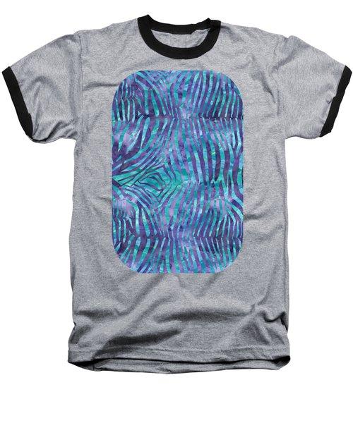 Blue Zebra Print Baseball T-Shirt