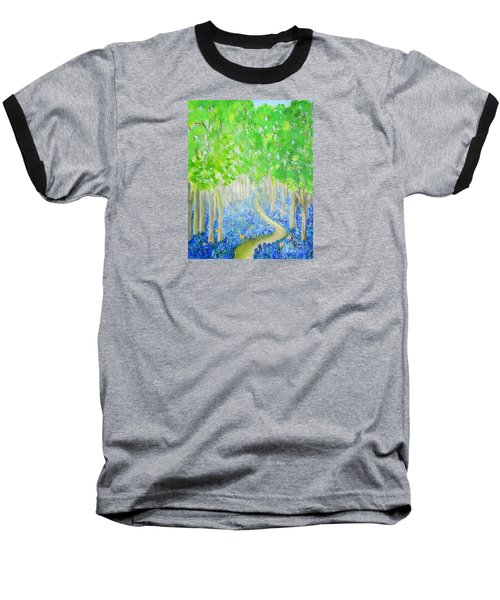 Bluebell Wood With Butterflies Baseball T-Shirt