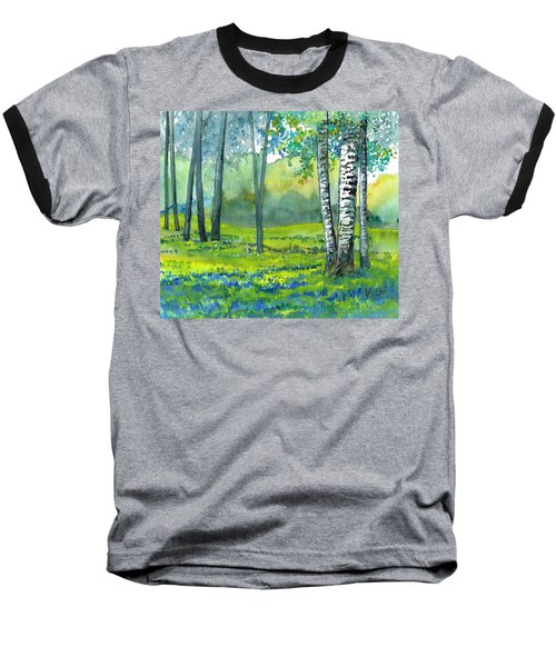 Baseball T-Shirt featuring the painting Bluebells And Birches by Val Stokes