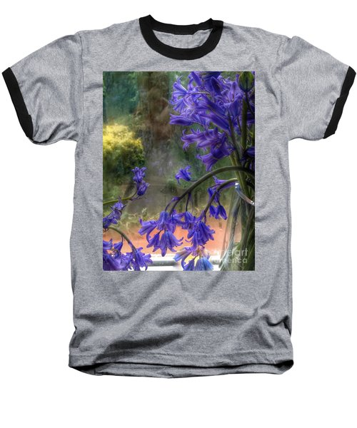 Bluebells In My Garden Window Baseball T-Shirt