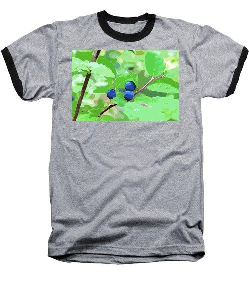 Blueberries Halftone Baseball T-Shirt by Cathy Mahnke