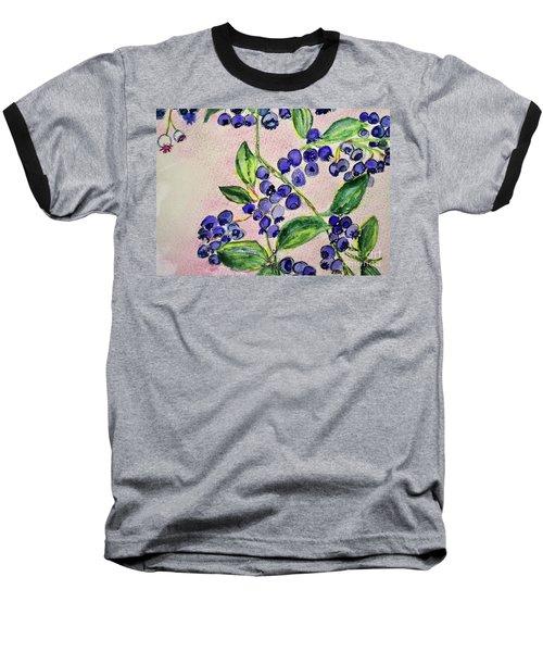 Blueberries Baseball T-Shirt by Kim Nelson