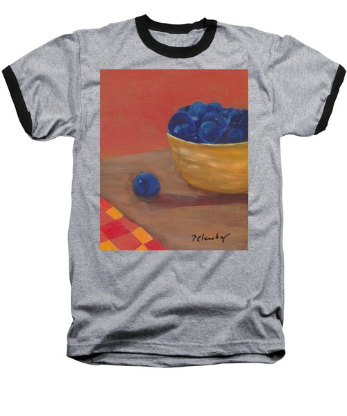 Blueberries Yellow Bowl Baseball T-Shirt by Patricia Cleasby