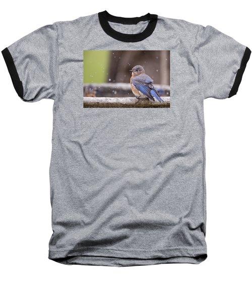 Bluebird Bubble Bath Baseball T-Shirt by Bonnie Barry