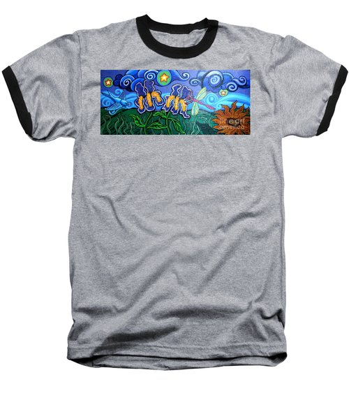 Bluebird Dragonfly And Irises Baseball T-Shirt by Genevieve Esson
